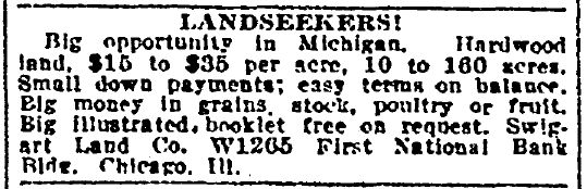 ad urging migration to Michigan, Denver Post newspaper advertisement 18 August 1920
