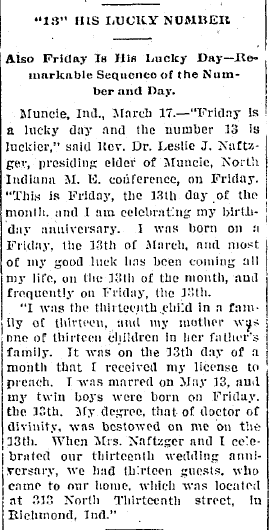 article about Friday the 13th, Elkhart Weekly Review newspaper article 18 March 1908