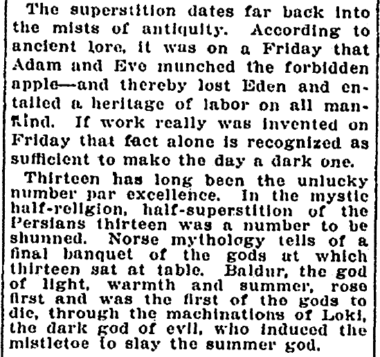 article about Friday the 13th, Evening Star newspaper article 13 September 1912