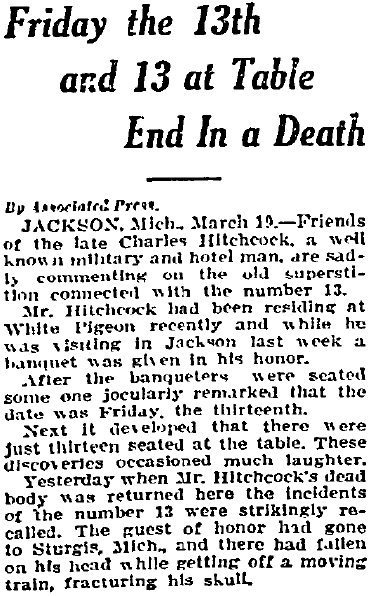 article about Friday the 13th, Fort Worth Star-Telegram newspaper article 19 March 1908