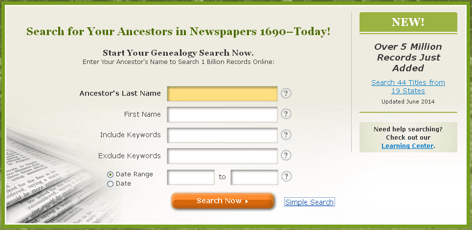 screenshot of GenealogyBank's search page