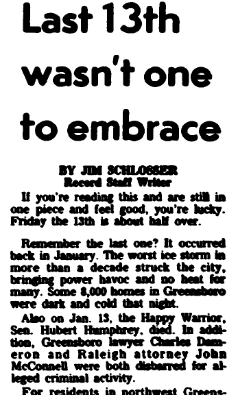 article about Friday the 13th, Greensboro Record newspaper article 13 October 1978