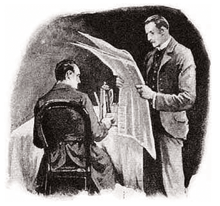 "illustration of Sherlock Holmes in ""The Five Orange Pips"""