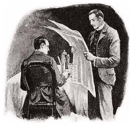 "illustration of Sherlock Holmes in ""The Five Orange Pips"""
