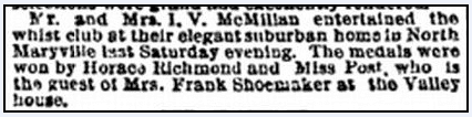 article about Horace Richmond, Kansas City Times newspaper article 30 November 1890