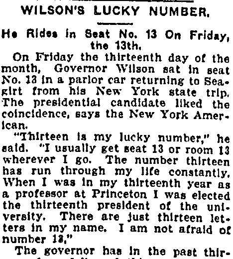 article about Friday the 13th and Woodrow Wilson, Macon Telegraph newspaper article 23 September 1912