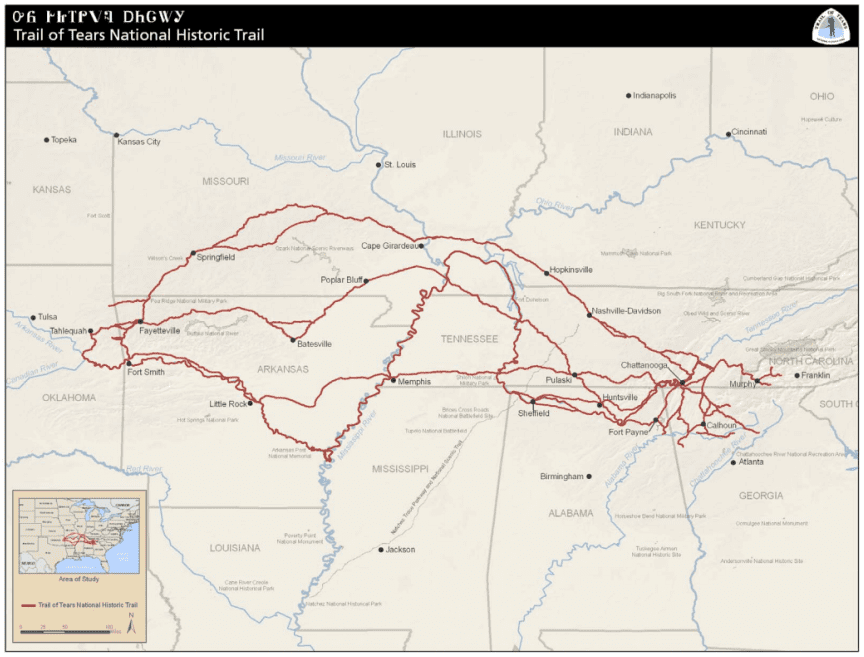 map of the Trail of Tears