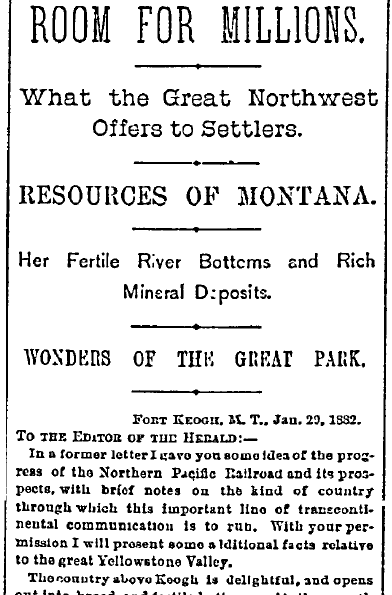 article urging migration to Montana, New York Herald newspaper advertisement 10 February 1882