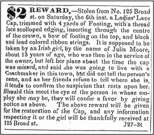 ad about Julia Moore offering reward for stolen cap, Newark Daily Advertiser newspaper advertisement 27 June 1835