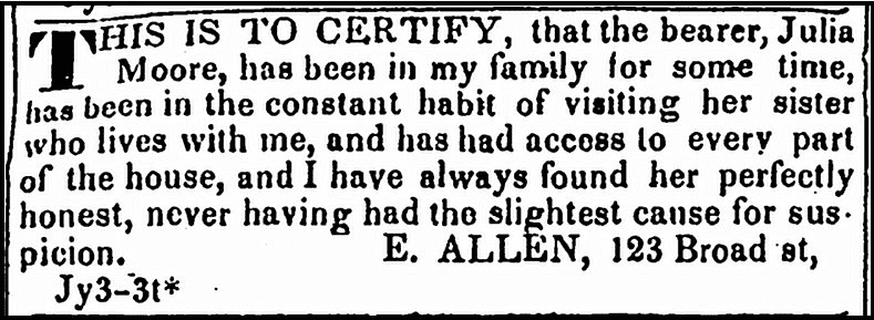 ad from E. Allen in support of Julia Moore, Newark Daily Advertiser newspaper advertisement 3 July 1835