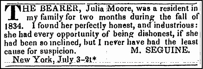ad from M. Seguine in support of Julia Moore, Newark Daily Advertiser newspaper advertisement 3 July 1835