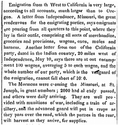 article about pioneers using the Oregon Trail, Newburyport Herald newspaper article 2 June 1848
