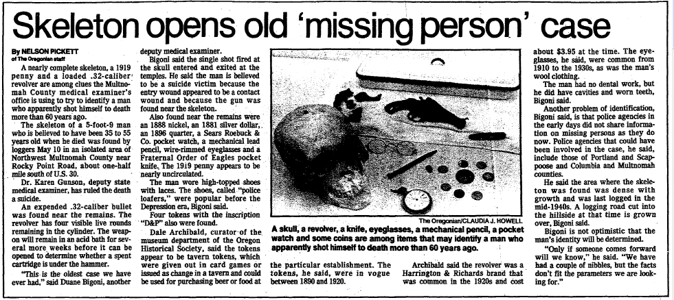Skeleton Opens Old 'Missing Person' Case, Oregonian newspaper article 20 May 1986