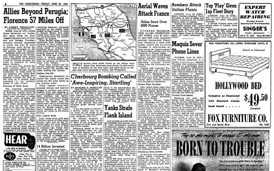 articles about WWII battles, Oregonian newspaper articles 23 June 1944