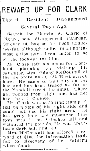 article about reward being offered for missing person Marvin Clark, Oregonian newspaper article 11 November 1926