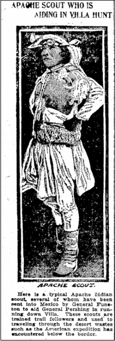 article about an Apache scout, Patriot newspaper article 12 May 1916