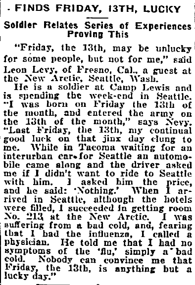 article about Friday the 13th, Philadelphia Inquirer newspaper article 9 February 1919