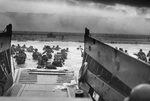 Photo: U.S. troops landing during D-Day. Credit: Chief Photographer's Mate Robert F. Sargent; National Archives and Records Administration; Wikimedia Commons.