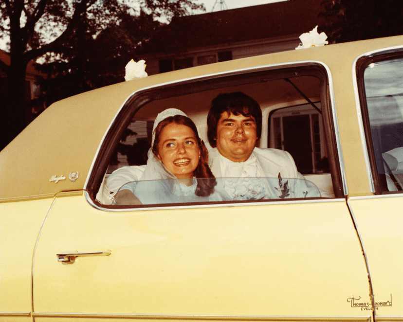 photo of Scott Phillips and his wife on their wedding day