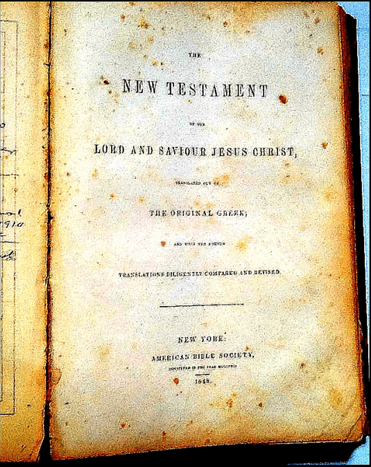 photo of the Richmond Family Bible, showing the title page of the New Testament