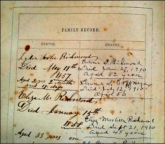 photo of the Richmond Family Bible showing the family registry page