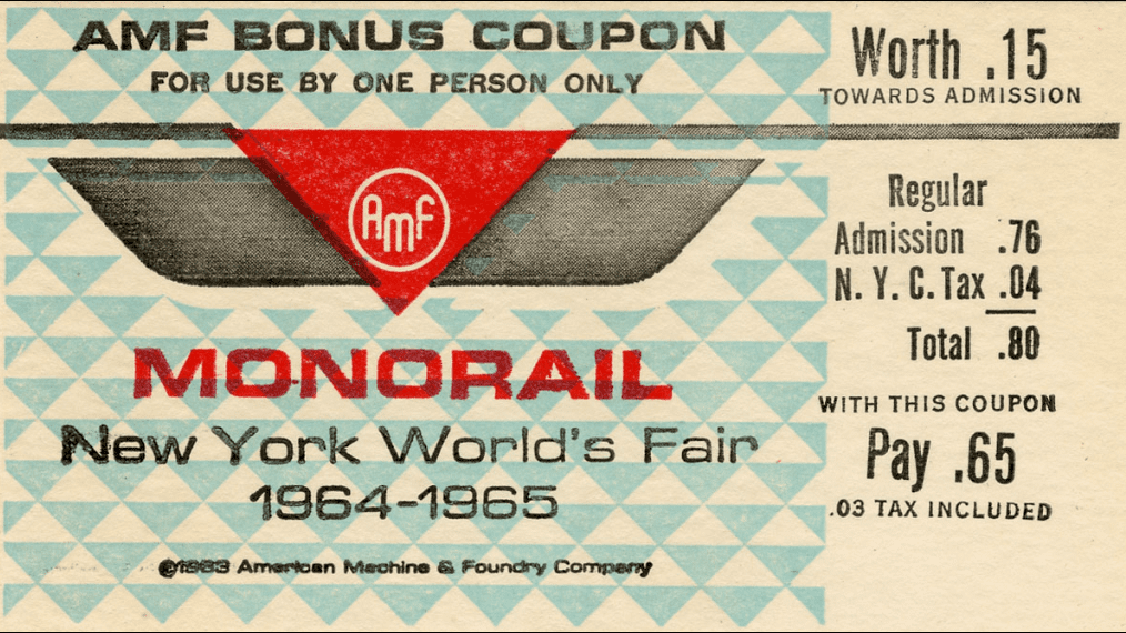 a monorail ticket from the 1964 World's Fair