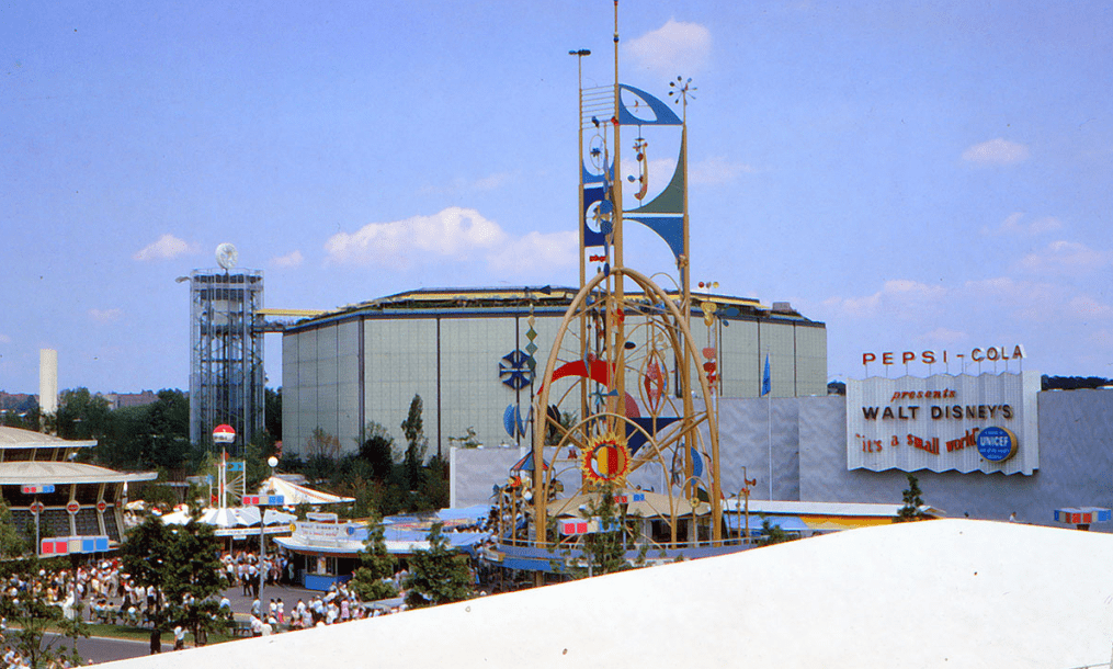 "photo of the ""It's a Small World"" exhibit from the 1964 World's Fair"