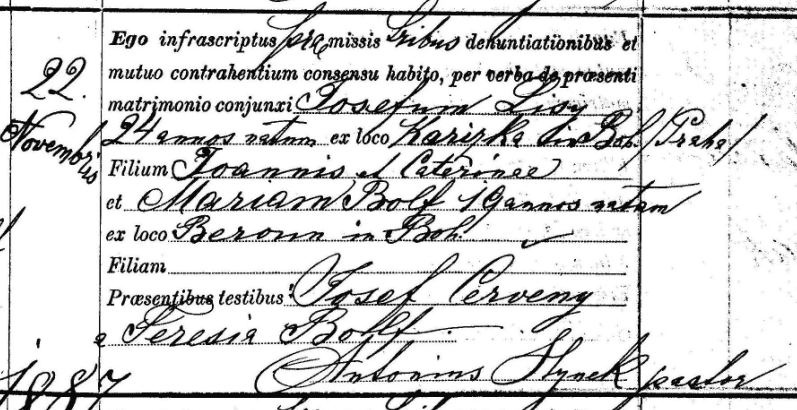 photo of the marriage registry for Joseph Lisy and Mary Bolf