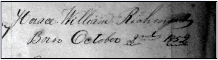 photo of the family registry page of the Richmond Bible, showing entry for Horace William Richmond