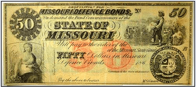 photo of a $50 defense bond from Missouri from the Civil War