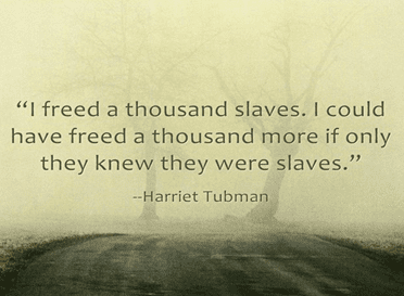 "quote from Harriet Tubman: ""I freed a thousand slaves. I could have freed a thousand more if only they knew they were slaves."""