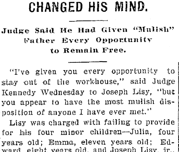 article about Joseph Lisy, Plain Dealer newspaper article 28 February 1901