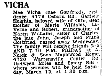 obituary for Mae Vicha, Plain Dealer newspaper article 11 March 1966