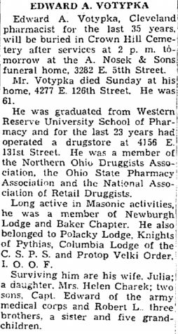 obituary for Edward Votypka, Plain Dealer newspaper article 14 March 1944