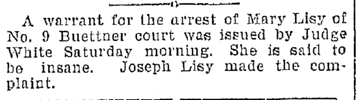 article about Mary Lisy, Plain Dealer newspaper article 16 May 1897