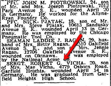 WWII casualty list mentioning Robert Vicha, Plain Dealer newspaper article 17 May 1945