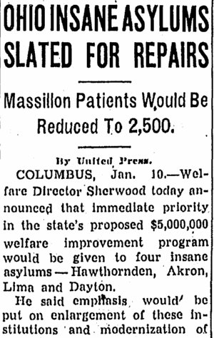 Ohio Insane Asylums Slated for Repairs, Repository newspaper article 10 January 1941