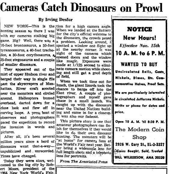 Cameras Catch Dinosaurs on Prowl (at the 1964 World's Fair), Richmond Times newspaper article 10 November 1963