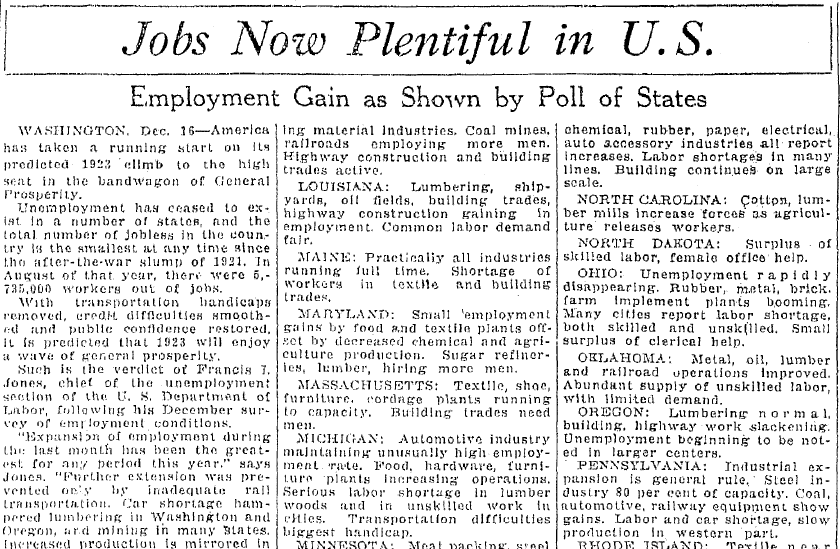 Jobs Now Plentiful in U.S., Saginaw News newspaper article 15 December 1922