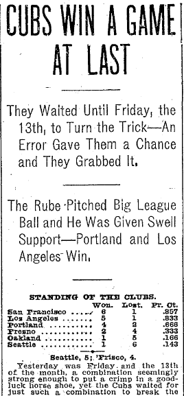 article about Friday the 13th, Seattle Daily Times newspaper article 14 April 1906