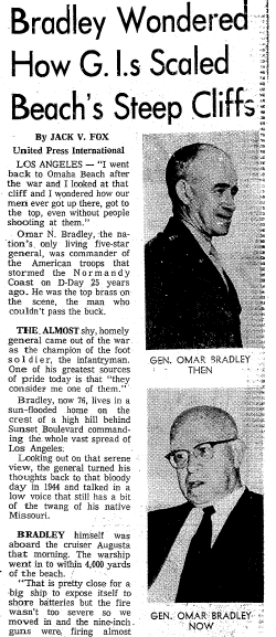 article about WWII's D-Day and General Omar Bradley, Seattle Daily Times newspaper article 1 June 1969