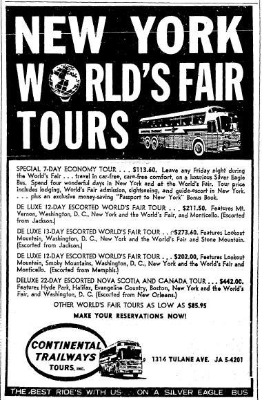 newspaper ad for bus tours at the 1964 World's Fair, Times-Picayune newspaper advertisement 24 May 1964