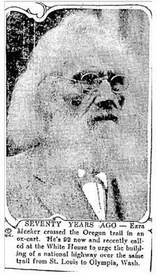article about pioneer Ezra Meeker, Trenton Evening Times newspaper article 27 October 1922