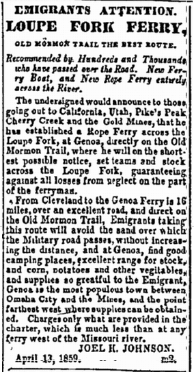 article about pioneers and westward expansion in the U.S., Weekly Council Bluffs Bugle newspaper article 13 April 1859
