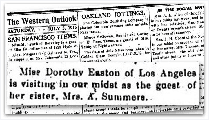 article about Dorothy Easton, Western Outlook newspaper article 3 July 1915