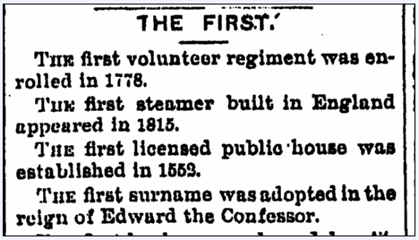 article about various firsts in history, Bay City Times newspaper article 30 June 1893