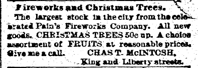 ad for Christmas trees and fireworks, Charleston News and Courier newspaper advertisement 3 January 1895