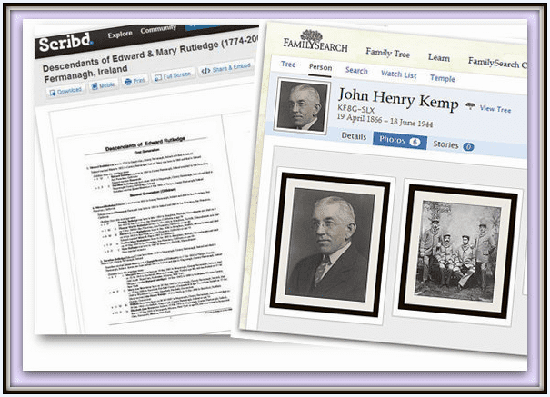 familiy history reports for Kemp ancestors