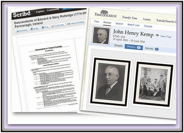 familiy history reports for Kemp ancestors