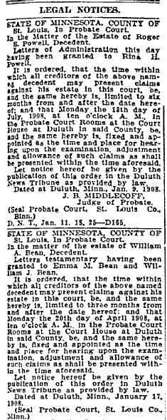 probate notices, Duluth News-Tribune newspaper articles 25 January 1908